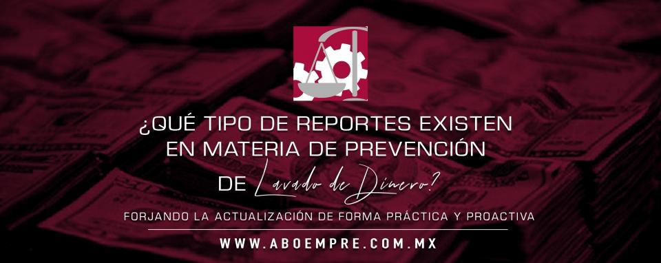 ¿Qué tipo de reportes existen en materia de prevención de lavado de dinero?