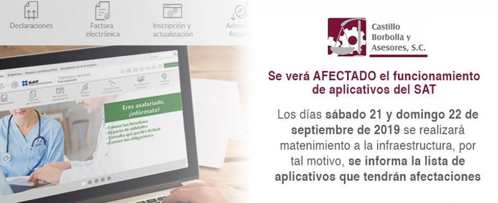 Se afectará el funcionamiento de diversos aplicativos del SAT.